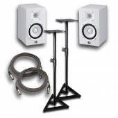"Yamaha HS5 White Powered Studio 5"" Monitor Pair with Stands and Cables"